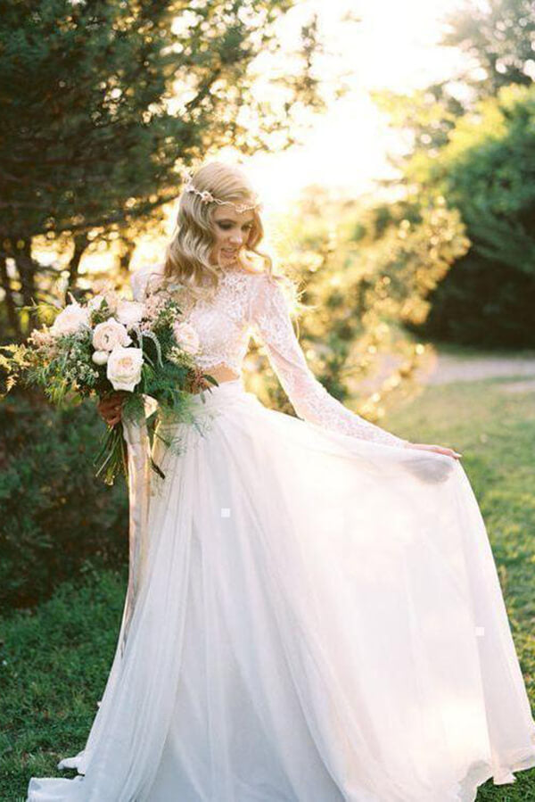 Two Piece Long Sleeve Top Lace Beach Wedding Dresses Bridal Dresses, SW386 | wedding dresses | bridal gowns | cheap wedding dresses | long sleeve wedding dresses | Simidress
