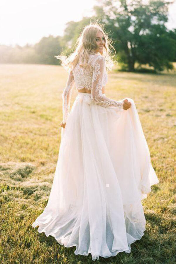 Two Piece Long Sleeve Top Lace Beach Wedding Dresses Bridal Dresses, SW386 | wedding dresses online | wedding dresses lace | wedding dresses near me | Simidress.com