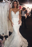 www.simidress.com | Fabulous Backless Spaghetti Straps Lace Mermaid Wedding Dresses | Bride Dress, SW287