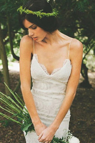Fabulous V-neck Open Back White Wedding Dress with Sweep Train, SW52