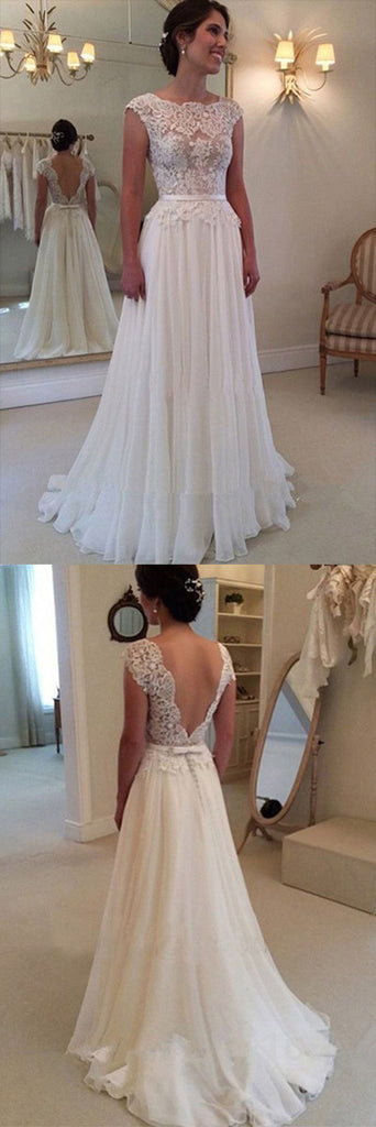 A-line Lace Beach Wedding Dress, Top Backless Cheap Long Ball Gowns,SW57