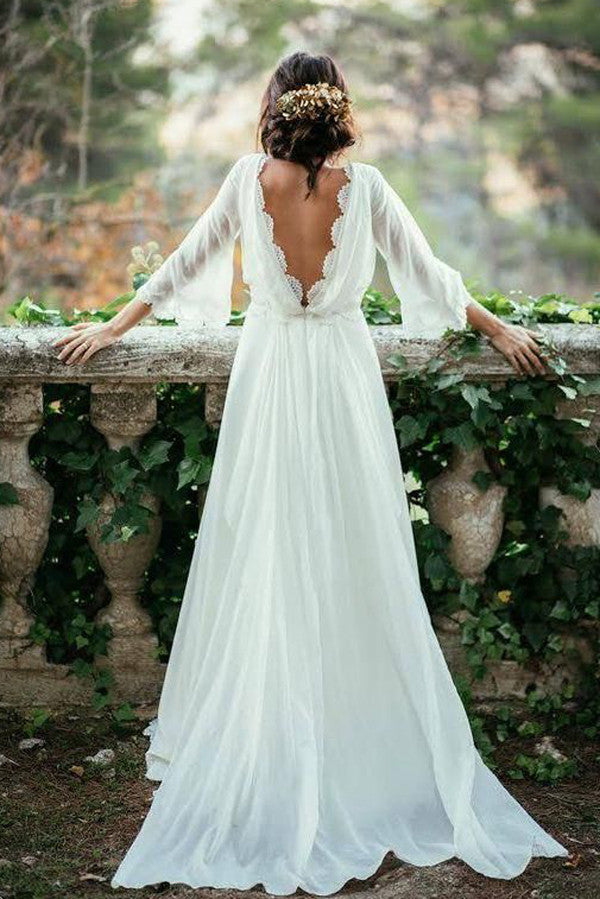 Good Fabulous Cheap White Beach Wedding Dress, Long Wedding Gown,SW58
