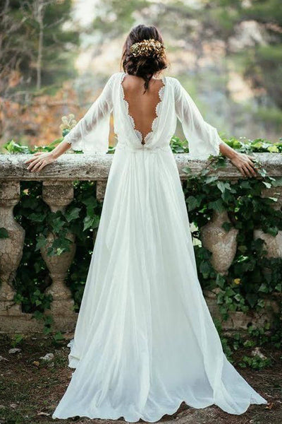 Fabulous Cheap White Beach Wedding Dress, Long Wedding Gown,SW58