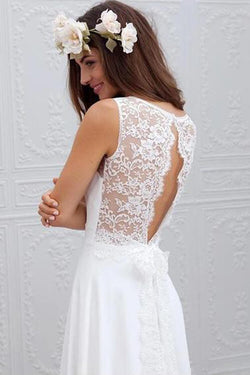 Cheap Simple Beach Open Back Wedding Dresses,Chiffon Lace Wedding Gown,SW60
