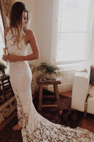 Lace Mermaid Princess Backless Wedding Gowns,Romantic Beach Wedding Dresses,SW61