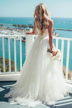 Charming A-line Tulle Spaghetti Straps Neckline Wedding Dress With Lace Appliques,SW63