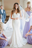 Sweetheart V Neck Sweep Train Wedding Dresses,Trumpet Lace Up Appliques Wedding Gown