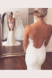 Sweetheart Spaghetti Sheer Back Wedding Dresses,Trumpet Sweep Train Wedding Gown