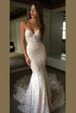 Luxurious Sweetheart Strapless Open Back Wedding Dresses,Trumpet Sweep Train Wedding Gown,SW70