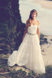 Off Shoulder Open Back Wedding Dresses,Beading Belt Beach Wedding Gown