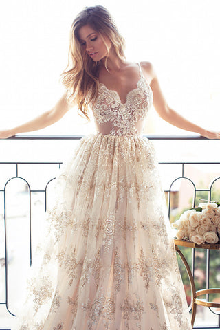 Luxurious Sweetheart Spaghetti Open Back Wedding Dresses,Lace Appliques Wedding Gown