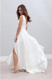 Deep V Neck Side Slit Wedding Dresses,Simple V Back Beach Wedding Gown,SW76