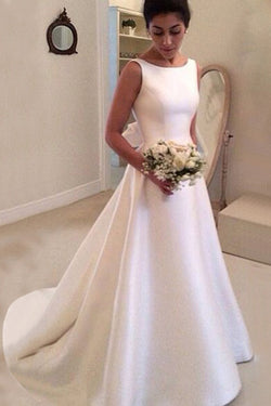 e50c60d45ca Boat Sleeveless Wedding Dresse