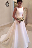 Boat Sleeveless Wedding Dresse,Sweep Train Deep V Back Cheap Wedding Gown