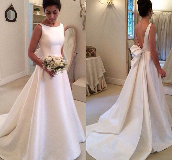 Boat Sleeveless Wedding Dresses,Sweep Train Deep V Back Cheap Wedding Gown,SW80