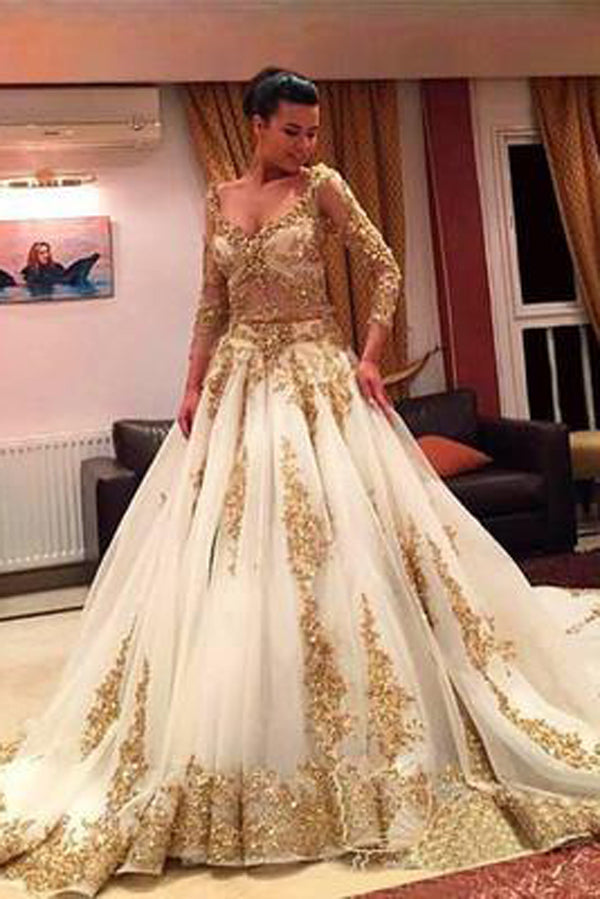 Gold Lace V-Neck Long Sleeves Chapel Train Ball Gown Wedding Dresses with Beading,SW87