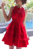 Red Short Prom Dresses, A-line Lace Scoop Neck ChiffonTiered Homecoming Dresses, SH88