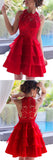 Red Short Prom Dresses, A-line Lace Scoop Neck Chiffon Tiered Homecoming Dresses, SH88