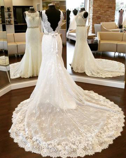 Open Back Lace Mermaid Vintage Scoop Neckline Wedding Dresses ,SW89