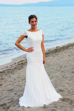 Open Back Cap Sleeves Scoop Lace Beach Wedding Dresses, SW94