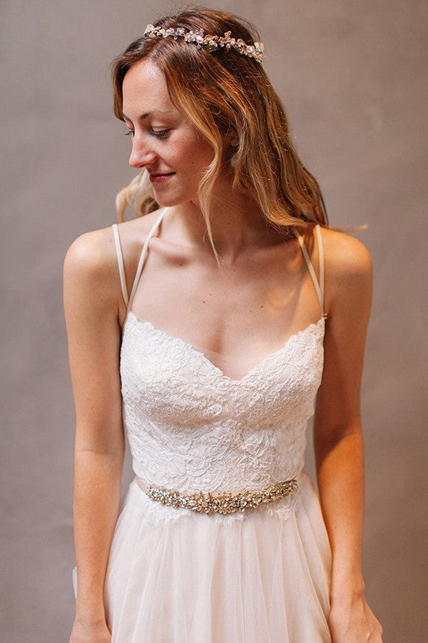 Simple A-Line Open Back Wedding Dresses,Tulle Wedding Party Gowns, SW30