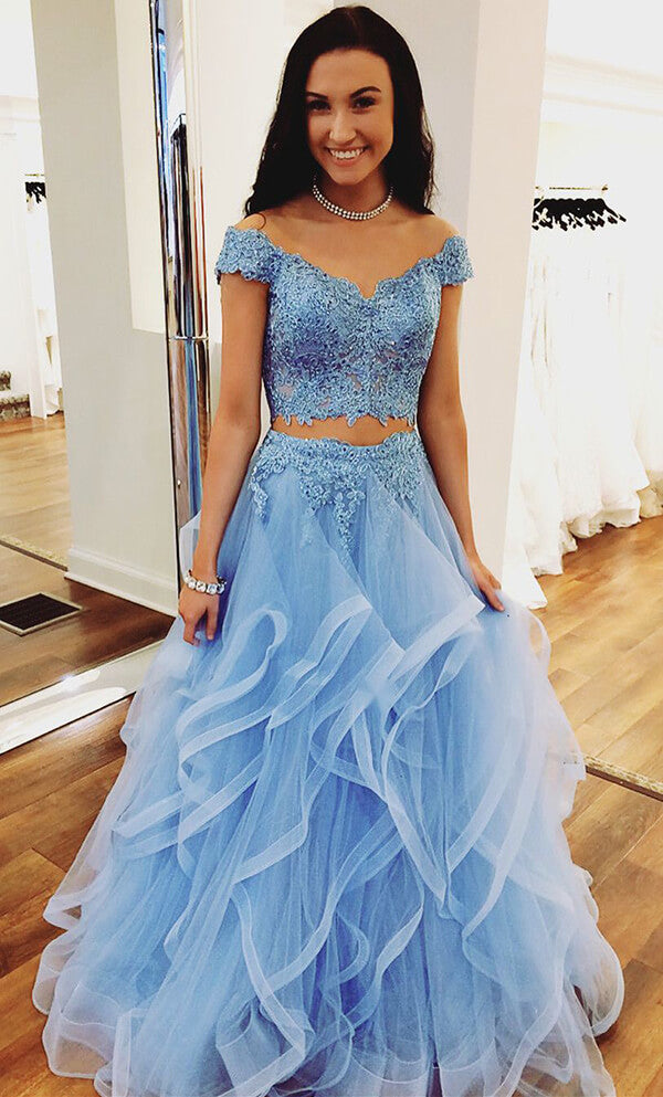 Blue Tulle Off Shoulder Two Piece Prom Dresses Lace Formal Dresses, SP350 | Blue Prom Dresses | two piece prom dresses | tulle prom dresses | lace prom dresses | prom dresses long | prom dresses cheap | Simidress.com