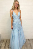 Sky Blue Tulle A Line Lace Sleeveless Floor Length V Neck Prom Dress, SP401 | prom dresses | evening dresses | formal dresses | prom gowns | long prom dresses | party dresses | evening dresses | Simidress