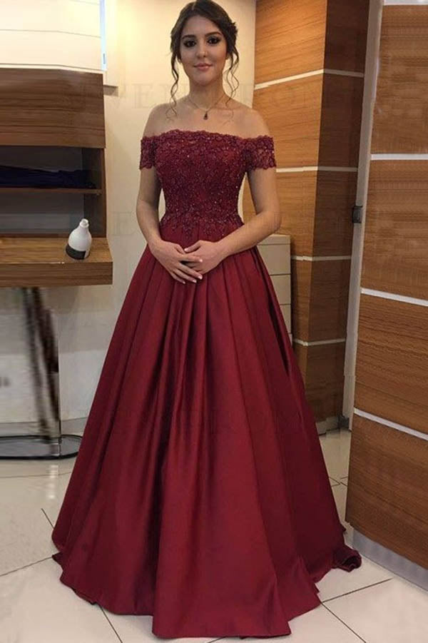 Fashion Satin Beaded Off Shoulder Appliqued Long Prom Dresses | Formal Dress, SP490 | Prom dresses burgundy | Prom dresses ball gown | Satin prom dresses | prom dresses long | Simidress