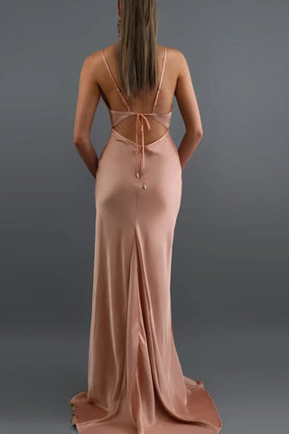 Find Simple Blush Mermaid Open Back V Neck Spaghetti Straps Long Prom Dresses, SP579 at www.simidress.com