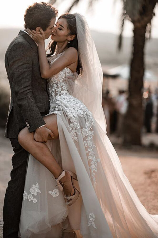 Romantic Bohemio 3D Lace Sweetheart Wedding Dresses Bridal Gowns, SW377 | beach wedding dresses | lace wedding dresses | bridal gowns | cheap wedding dresses | wedding gowns | www.simidress.com