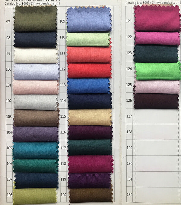 Shiny spandex satin color swatches 5 for prom dresses, evening dresses, party dresses, wedding dresses | www.simidress.com