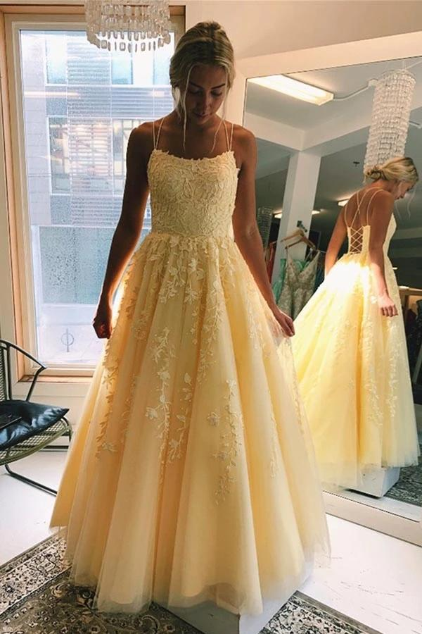 Buy Yellow Tulle A-line V Neck Spaghetti Straps Long Prom Dresses with Appliques, SP531 at www.simidress.com