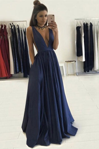 8dfc7d161c Long Sexy Prom Dress,Deep V Neck Prom Dresses,Sleeveless Evening Gowns, Formal