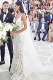 Vintage Beaded Lace Mermaid V Neck Wedding Dresses With Court Train, SW406 | cheap lace wedding dresses | wedding dresses online | beach wedding dresses | lace wedding dresses | bridal dresses | bridal gowns | simidress.com