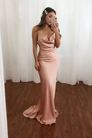Simple Blush Mermaid Open Back V Neck Spaghetti Straps Long Prom Dresses, SP579 | prom dresses | evening dresses | mermaid prom dresses | long prom dresses | formal dresses | Simidress.com