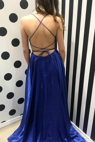 www.simidress.com supply Simple Blue Spaghetti Straps Long Prom Dresses Evening Dress with Thigh Slit, M306 at affordable price