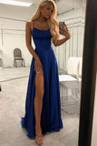 Simple Blue Spaghetti Straps Long Prom Dresses Evening Dress with Thigh Slit, M306