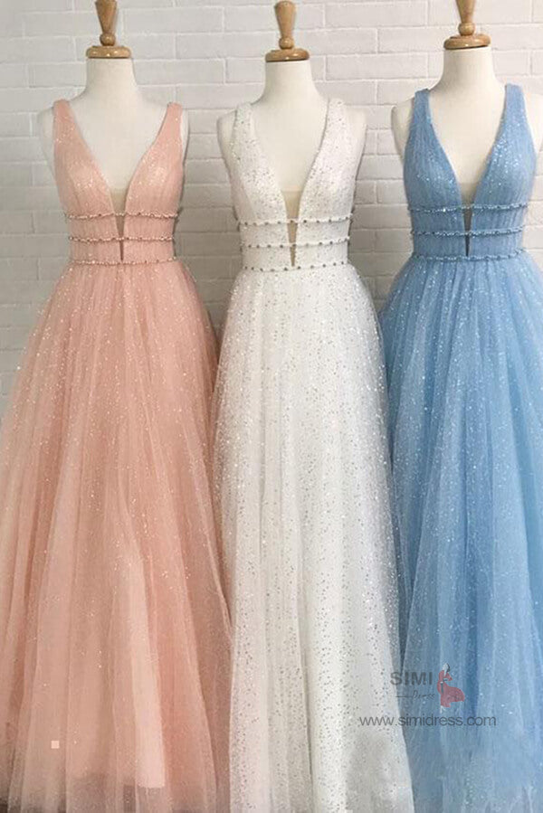 Sparkly A-line Deep V-Neck Beaded Long Prom Dresses, Evening Dresses, SP678 | evening gown | party dresses | long prom dresses | cheap prom dresses | simidress.com