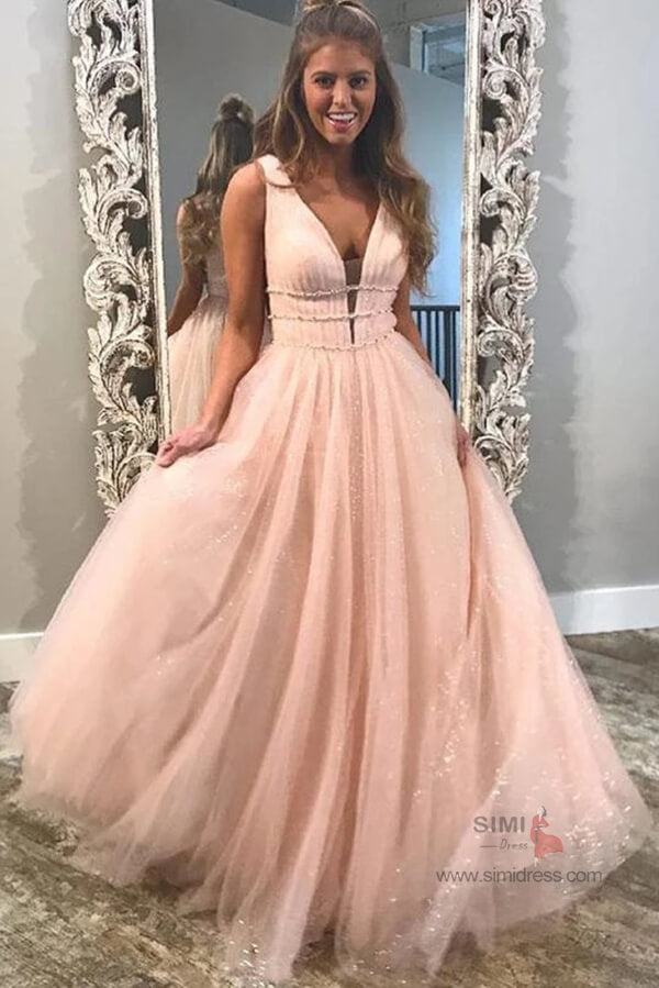 Sparkly A-line Deep V-Neck Beaded Long Prom Dresses, Evening Dresses, SP678 | evening dresses | formal dresses | long prom dresses | formal dresses | www.simidress.com