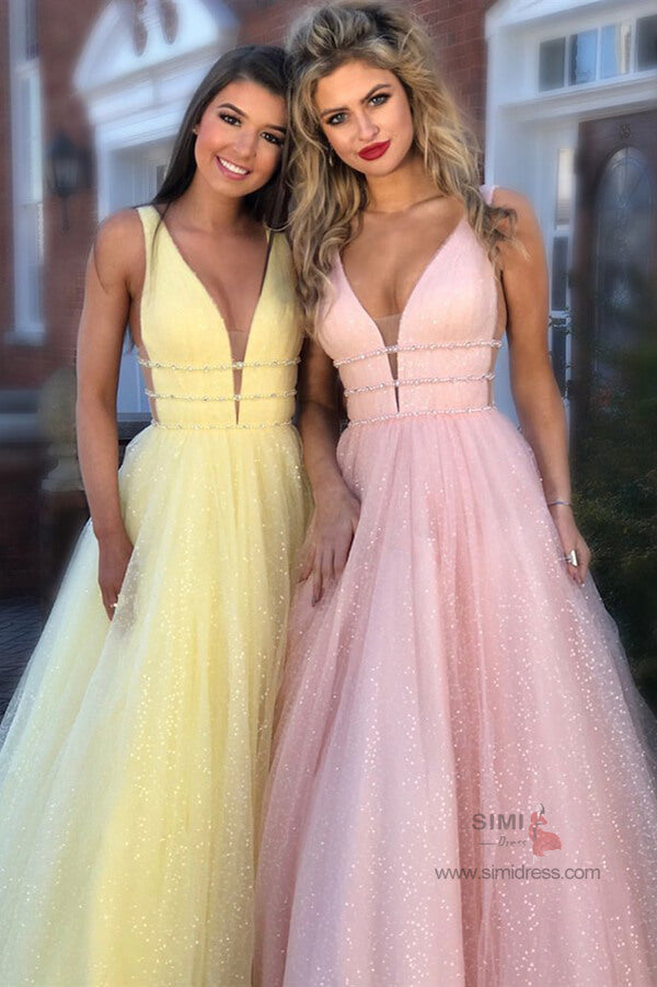 Sparkly A-line Deep V-Neck Beaded Long Prom Dresses, Evening Dresses, SP678 | evening gown | cheap prom dresses | long prom dresses | formal dresses | tulle prom dresses | prom | www.simidress.com