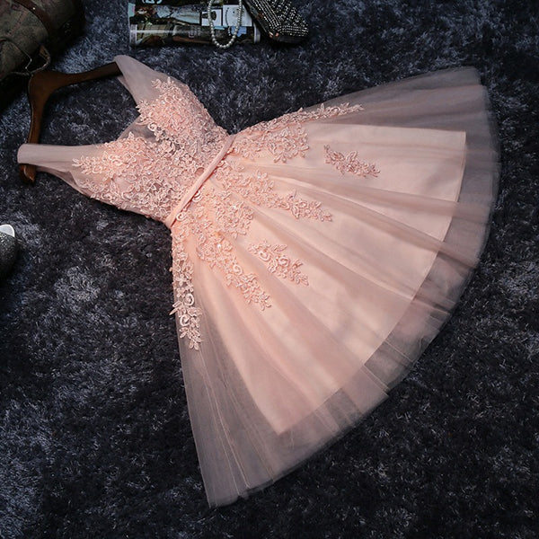 Blush Pink Short Bridesmaid Dress,Prom Dress,Lace Appliqued Tulle Homecoming Dress,SH60 | homecoming dresses | graduation dresses | short prom dresses | Simidress