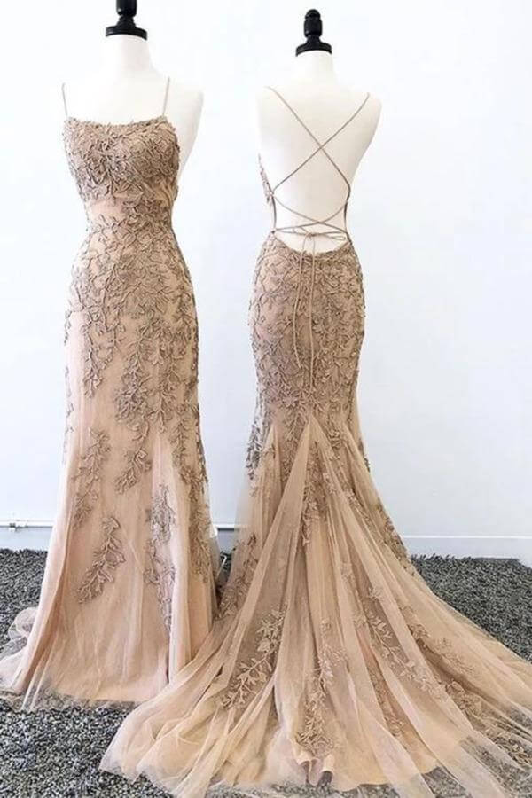 Gold Mermaid Spaghetti Straps Backless Long Prom Dresses Formal Dress, SP356 | lace prom dresses | mermaid prom dresses | cheap prom dresses | long prom dresses | www.simidress.com