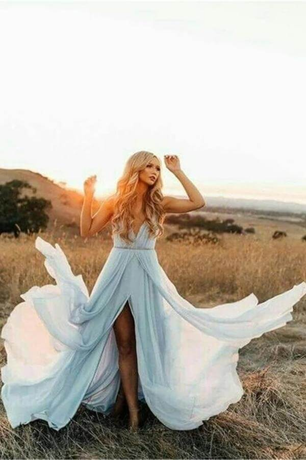 Sky Blue Rustic Thigh Split Beach Wedding Dresses with Court Train, SW196 | sky blue wedding dresses | bridal gowns | cheap wedding dresses | chiffon wedding dresses | simple wedding dresses | simidress.com