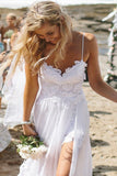 White Lace Side Slit Simple Spaghetti Wedding Dresses For Beach Wedding,M32