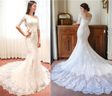 Fabulous Half Sleeve Off Shoulder Popular Mermaid Wedding Dresses,Affordable Bridal Dress,SVD521
