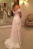 2017 Off Shoulder Side Split  Long Beach Wedding Dresses,Cheap Bridal Dresses,SVD524