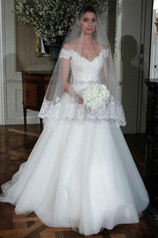 Top White Tulle Wedding Dresses with Beading,Off Shoulder A-line Lace Wedding Dress,SVD527