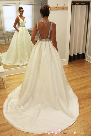 Simple Long Wedding Gowns,Sexy Deep V Neckline Backless Long Wedding Dresses,SVD531