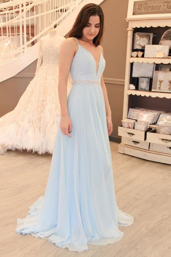 Light Blue A-line V-neck Chiffon Sweep Train Open Back Beading Prom Dress M220