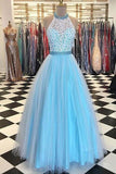 Sleeveless A Line Prom Dresses,Halter Lace Bodice Prom Gown,Tulle Evening Dresses, M37